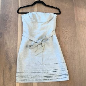 Strapless shimmer silver dress